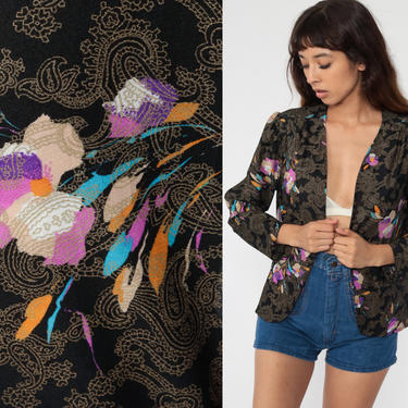 Black Floral Jacket 70s Boho Blouse Wrap Shirt Puff Sleeve Open Front Blouse 1970s Bohemian Hippie Vintage Large L by ShopExile