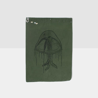 hand drawn jelly fish laundry bag, repurposed laundry bag, vintage laundry bag, military laundry bag, hand drawn bag, ink drawing on canvas by homeandhomme