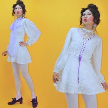 Vintage 1960s 60s Purple Ribbon Woven Hand Crochet Babydoll Micro Dress /SZ XS/ 70s 1970s Boho Hippie Romantic Nostalgia MOD Knit Mini Dress by TheeAppleBoutique