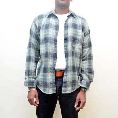 vintage 90s soft flannel shirt button up sage green plaid 1990s worn indie grunge casual unisex 90's top shirt tee fall layers by levintagecult