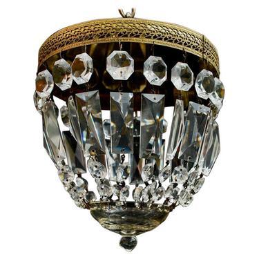 Elegant Small Crystal Italian Flush Mount Light