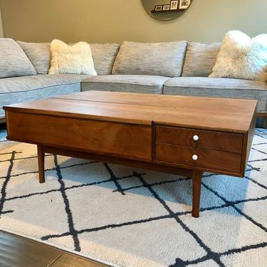 Kipp Stewart for Drexel Declaration Mid Century Modern Coffee Table Stand with 2 Drawers Flip Top Storage Section BookShelf by BigWhaleConsignment