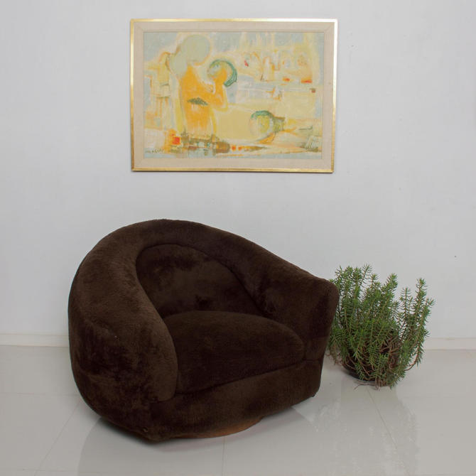 Mid Century Modern Small Polar Bear Lounge Chair after Jean Royere by AMBIANIC