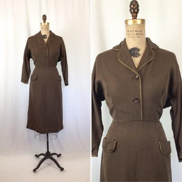 Vintage 40s dress   Vintage brown wool twill dress   1940s chocolate brown tailored dress by BeeandMason