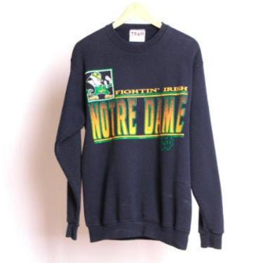 vintage 1990s NOTRE DAME fightin' irish navy blue 90s color block college football sweatshirt -- size medium by CairoVintage
