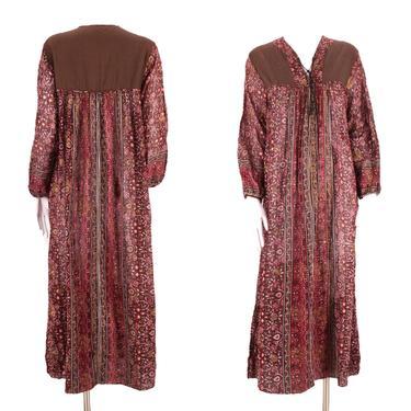 70s tissue cotton India print peasant dress L / vintage 1970s brown garnet hippy festival caftan maxi sz Large by ritualvintage