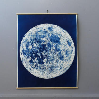 Mounted Lunar Map Cyanotype on Linen Ready to Hang Signed