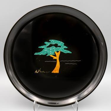 Couroc Round Serving Tray, Monterey Cypress | Mid Century Barware | Vintage Serveware by MostlyMidCenturySF
