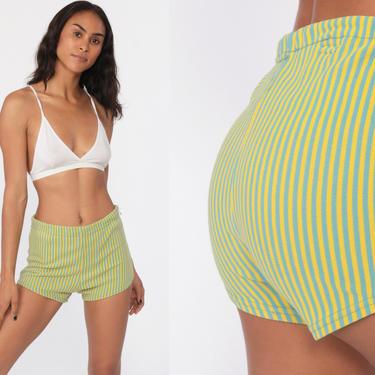aaa9111069db7 Bikini Bottoms Swim Shorts 70s Yellow Hot Pants STRIPE High Waisted Bathing  Suit Mod Boyshort Vintage