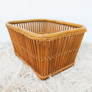 Vintage Bamboo Basket with Cane Style Mat Bottom by PortlandRevibe