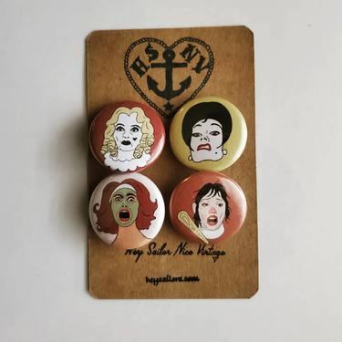 """Horror Dames 1"""" Magnet or Button Set by HeySailorNiceVintage"""