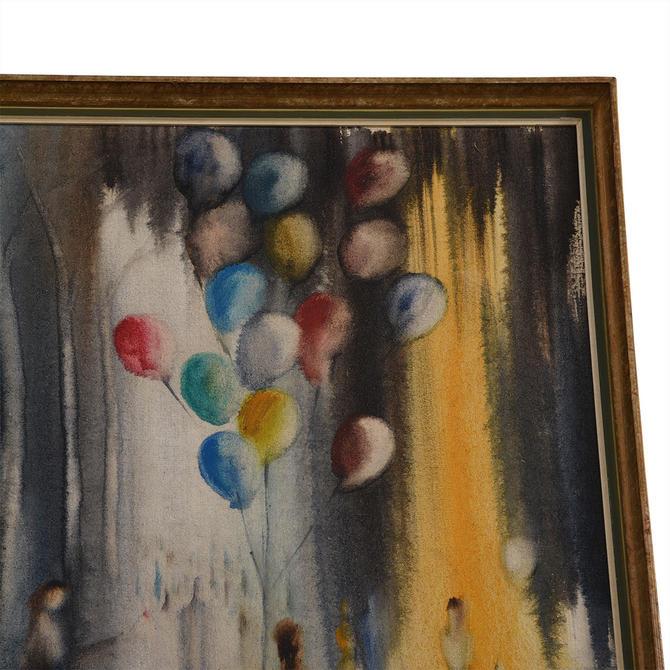 Vintage Man with Balloon Impressionistic Artwork