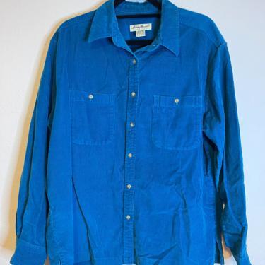 2) vintage EDDIE BAUER teal corduroy button down long sleeve by GRACEandCATS