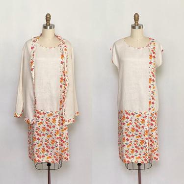 Vintage 1920s Dress and Jacket Set Linen Floral Daytime Ensemble by littlestarsvintage