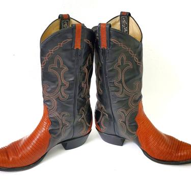 Vintage Larry Mahan Pecan Black Leather Cowboy Boots Mens Size 11.5D Lizard Skin by MakingMidCenturyMod