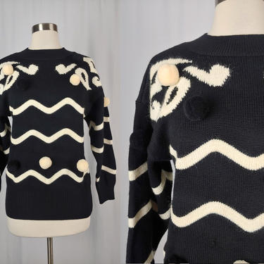 Vintage Eighties Escada Puff Ball Sweater - 80s XS Black White Wool Blend Pom Pom Pullover Sweater - *Mended* by JanetandJaneVintage