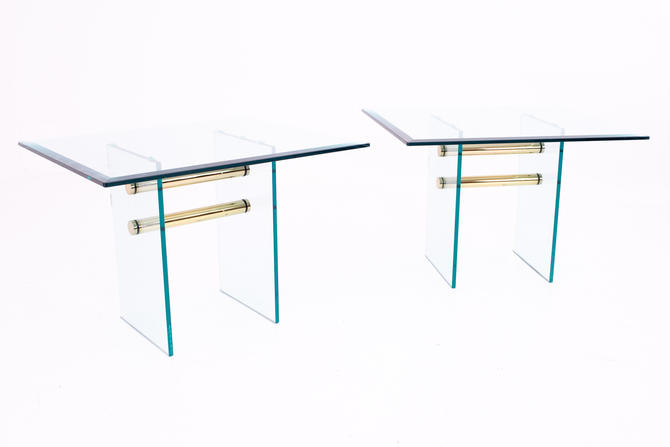 Pace Mid Century Brass and Glass Side End Tables - Pair - mcm by ModernHill