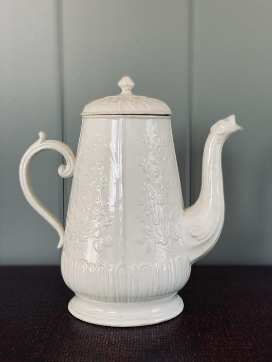Antique French Creamware Coffee Pot with Lid