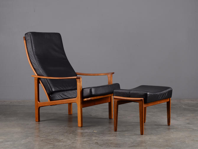 Mid Century Lounge Chair Black Leather and Teak Broderna Anderssons by MadsenModern