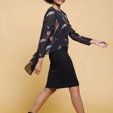 overlay dress sheer flowy long sleeves black paint stroke print vintage 80s SMALL MEDIUM S M by shoprabbithole