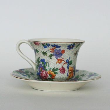 vintage chintz tea cup E R Phila Warwick Germany by suesuegonzalas