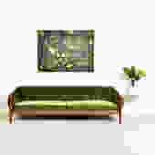 Mid Century Olive Green Brazilian Velvet Sofa