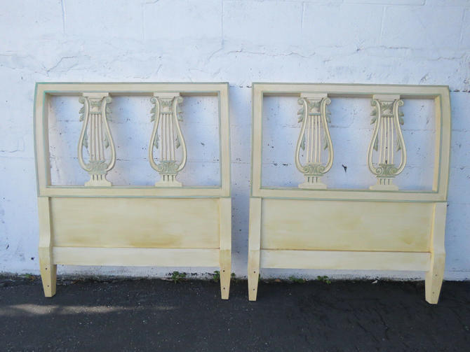 French Harp Shape Painted Twin Size Pair of Headboards 8925