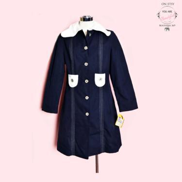60's Blue MISTY HARBOR Coat, New Old Stock, 1960's Nautical Mod style, Blue Denim Vinyl, Vintage Overcoat, Rain Coat, Hippie Boho Gogo style by Boutique369