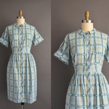 1950s vintage dress   Adorable Blue Cotton Plaid Print Short Sleeve Shirt Dress   XL   50s dress by simplicityisbliss