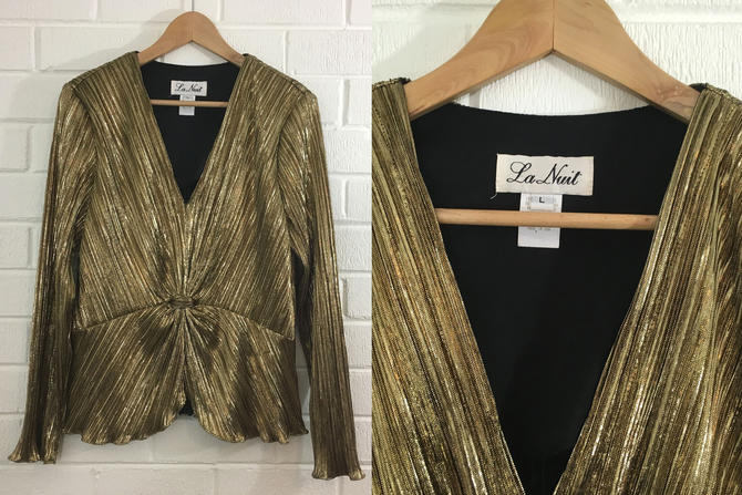Vintage La Nuit Gold Blouse Metallic Top 80s Black Gold 1980s Peplum Long Sleeve Pleated Foil USA Women's Large Deep V Neck Disco Glam Punk by CheckEngineVintage