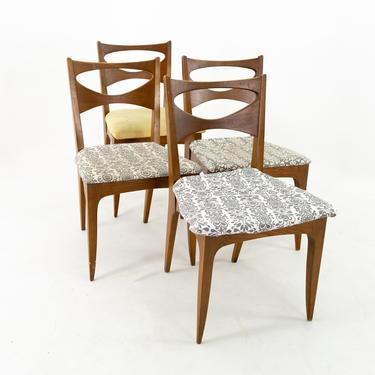 John Van Koert for Drexel Profile Mid Century Walnut Dining Chairs - Set of 4 - mcm by ModernHill