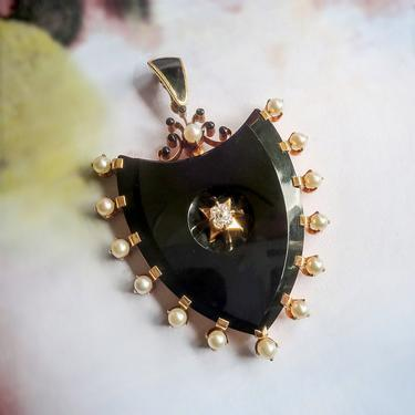 Antique Victorian Shield Onyx Diamond and Akoya Pearl Mourning Pendant 14K by YourJewelryFinder