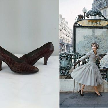 Classic Sightseeing Moments - Vintage 1950s Brown Croco Embossed Leather Heels Pumps Shoes - 6/6.5 by RoadsLessTravelled2