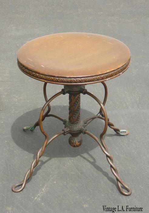 Vintage Rustic Spanish Style Ornate Wrought Iron Swivel Stool ~ Bench by VintageLAfurniture