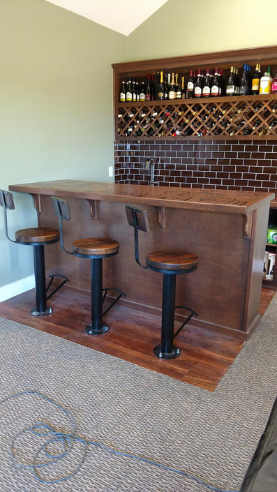 Free Shipping! Customizable Bolt Down Bar Stools with Swivel, Backrest and Foot Rest -- Urban Industrial Pedestal Style Bar Stools by BarnWoodFurniture