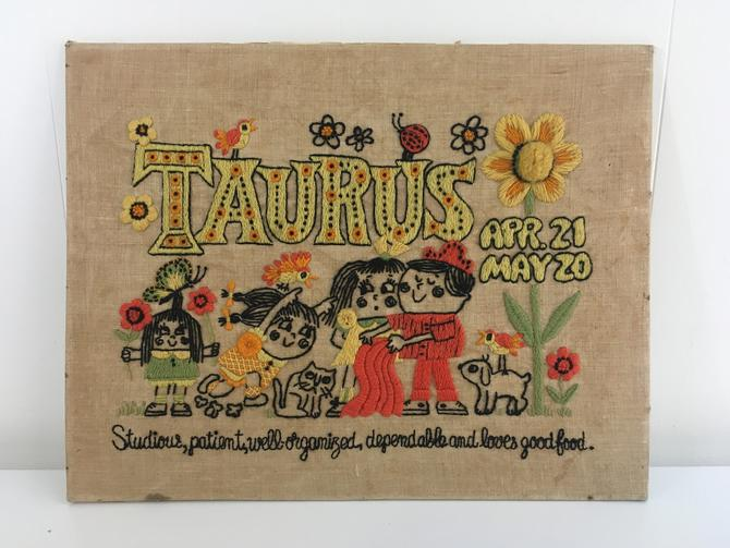 Vintage Taurus Zodiac Art 1970s Needlework Sampler Needlepoint Astrology Bull Horoscope Wall Hanging Boho Decor Kitsch MCM Linen Crewel by CheckEngineVintage