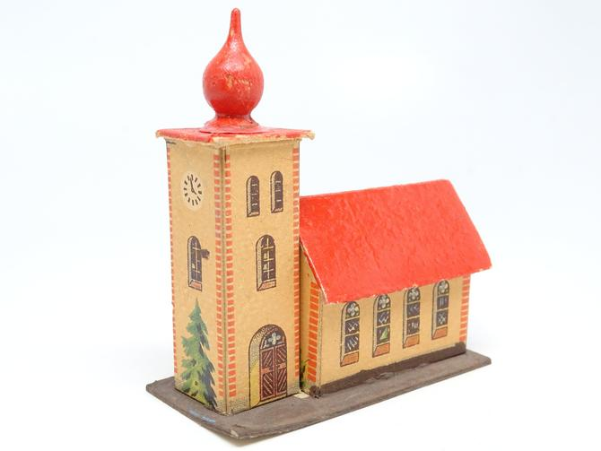 Vintage German Church House for Christmas Putz or Nativity Creche, Antique Cardboard Toy, East Germany by exploremag