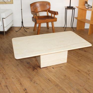 Postmodern Marble Coffee Table Travertine Cream Paint Minimalist Vintage by 330Modern