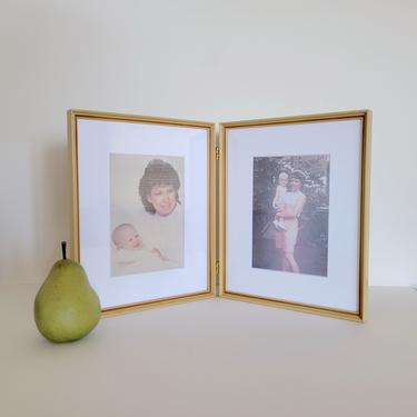 Vintage Double 8x10 Wood Frame, Unusual Folding Frame with White Mats by CivilizedCrow