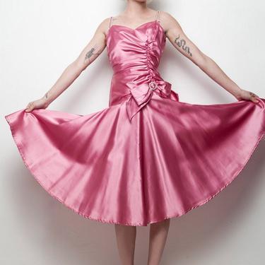 vintage 80s party dress dark pink gathered drop waist rhinestone shoulder straps xxS xS EXTRA SMALL (su-1) by shoprabbithole