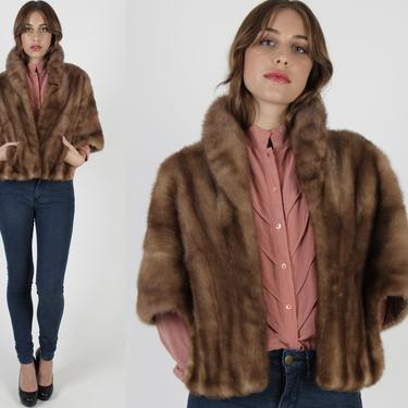 Womens Fur Back Collar Mink Stole / Real Fur Wrap With Pockets / 1960 Autumn Haze Bridesmaids Bolero / Recycled Tan Bridesmaids Shrug Bolero by americanarchive