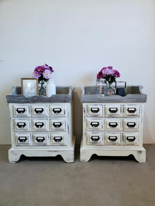 Farmhouse Apothecary Nightstand Set
