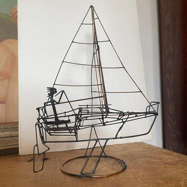 Vintage Wire Sculpture Art Decor Mid Retro Deco Copper Color Metal People Boat Ship Sailing Nautical by BigWhaleConsignment