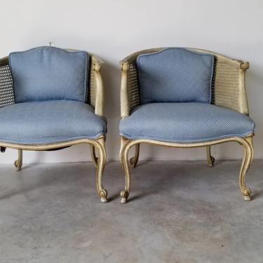 French Hollywood Regency Carved Wood and Cane Barrel Back Lounge Chairs - a Pair by MIAMIVINTAGEDECOR