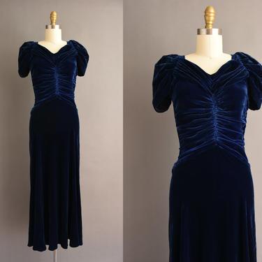 vintage 1930s dress - midnight blue silk velvet full length cocktail party dress - Size Small - 30s dress by simplicityisbliss