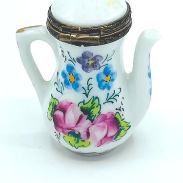 Vintage Peint Main Limoges France Floral Patten Tea Pot Trinket Box Hand Painted by JoAnntiques