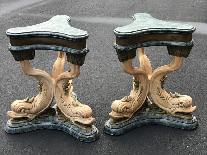 Incredible pair of vintage dolphin pedestals - table with heavy glass top by HolbrookBazaar