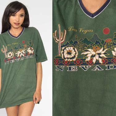 Las Vegas Shirt Saguaro Cactus Shirt Graphic Shirt 90s Green Ringer Tee Shirt Vintage Tshirt 1990s T Shirt Travel Souvenir Medium Large by ShopExile