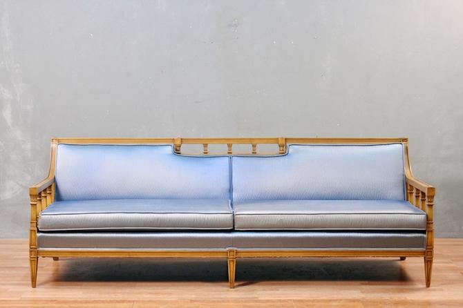 Mid Century Metallic Blue Sofa – ONLINE ONLY