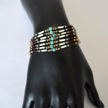 70's colorful beads & tubes tribal hippie 7 strand unusual tube clasp cuff, handsome edgy wood glass metal handcrafted ethnic boho stackable by BetseysBeauties